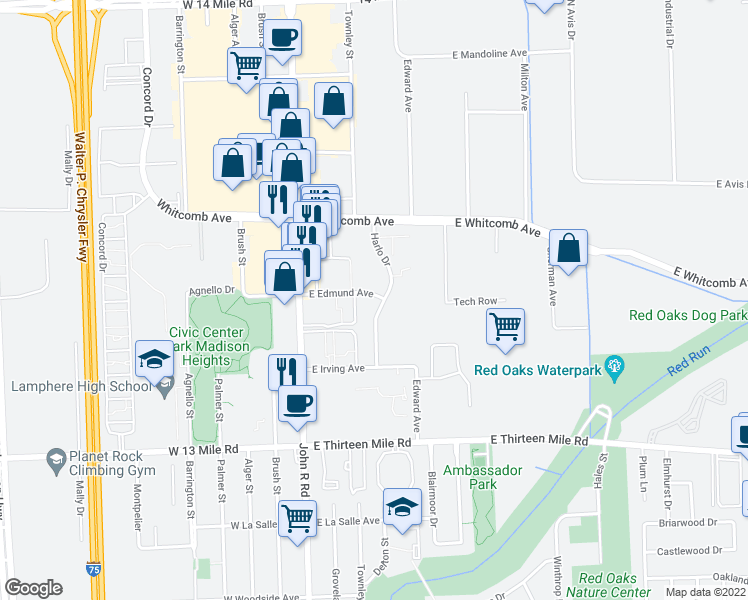 map of restaurants, bars, coffee shops, grocery stores, and more near 31470 Harlo Drive in Madison Heights