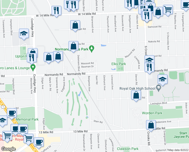 map of restaurants, bars, coffee shops, grocery stores, and more near 4125 Kent Road in Royal Oak