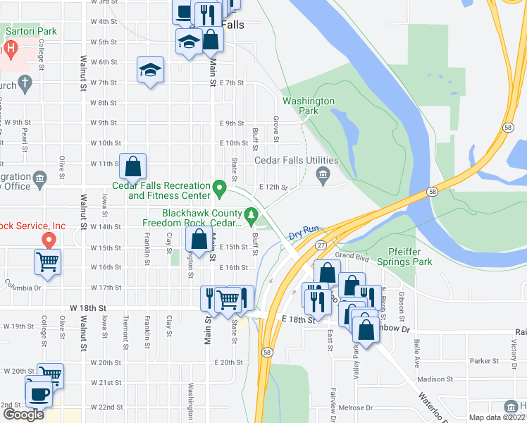map of restaurants, bars, coffee shops, grocery stores, and more near 1001 Waterloo Road in Cedar Falls