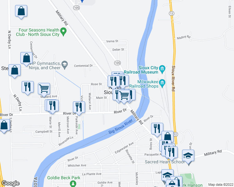 map of restaurants, bars, coffee shops, grocery stores, and more near in North Sioux City