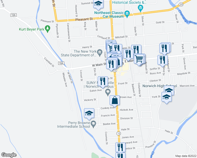 map of restaurants, bars, coffee shops, grocery stores, and more near Hayes Street in Norwich