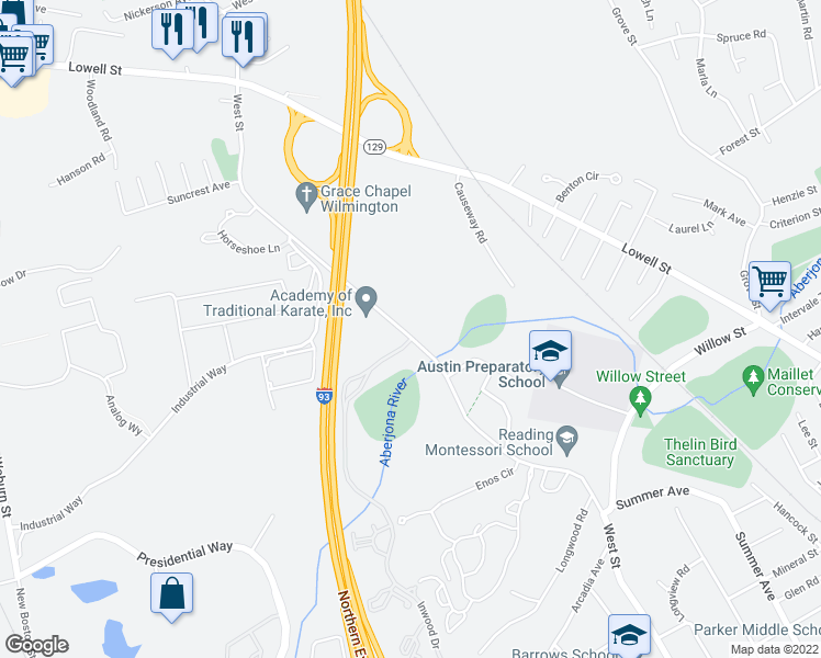 map of restaurants, bars, coffee shops, grocery stores, and more near 1 Inwood Drive in Woburn