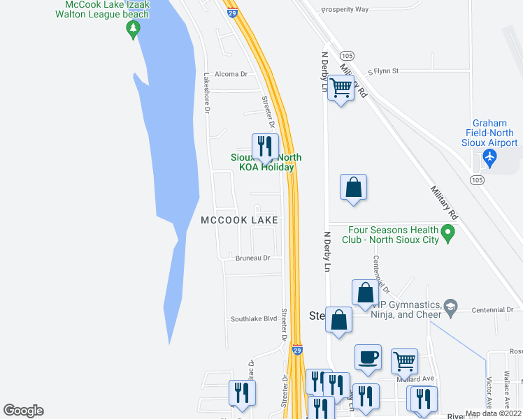 map of restaurants, bars, coffee shops, grocery stores, and more near 627 Streeter Drive in North Sioux City
