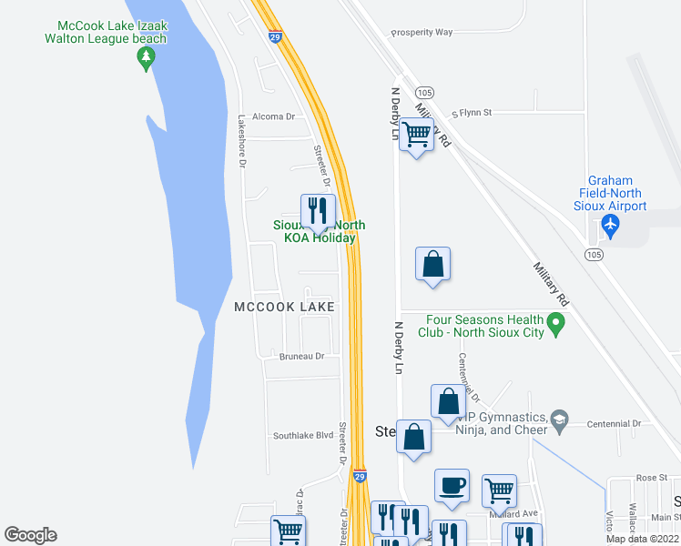 map of restaurants, bars, coffee shops, grocery stores, and more near 629-645 Interstate 29 Frontage Road South in North Sioux City