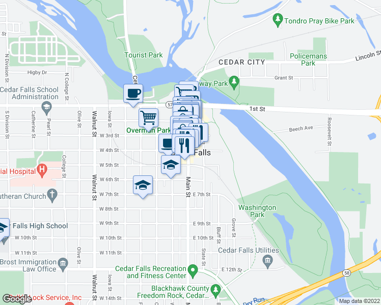 map of restaurants, bars, coffee shops, grocery stores, and more near in Cedar Falls