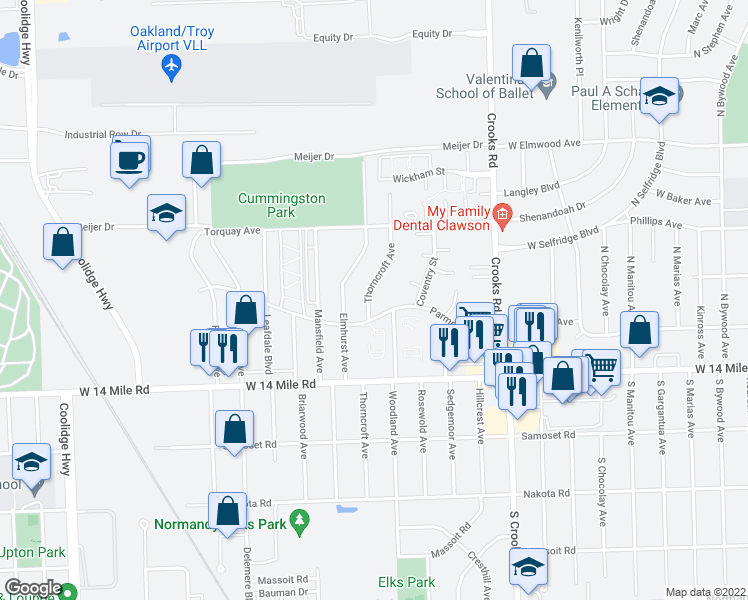 map of restaurants, bars, coffee shops, grocery stores, and more near 5016 Thorncroft Avenue in Royal Oak