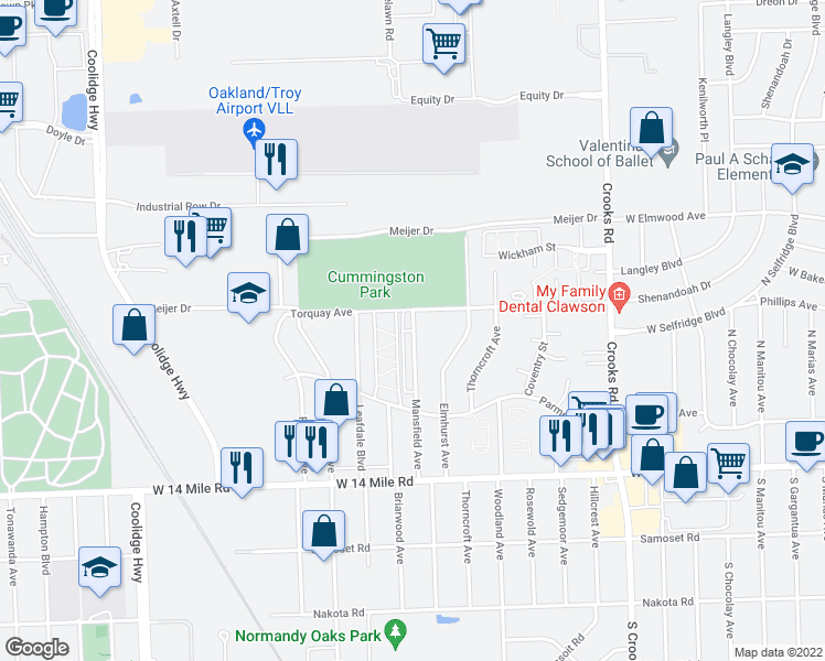 map of restaurants, bars, coffee shops, grocery stores, and more near 5004 Mansfield Avenue in Royal Oak