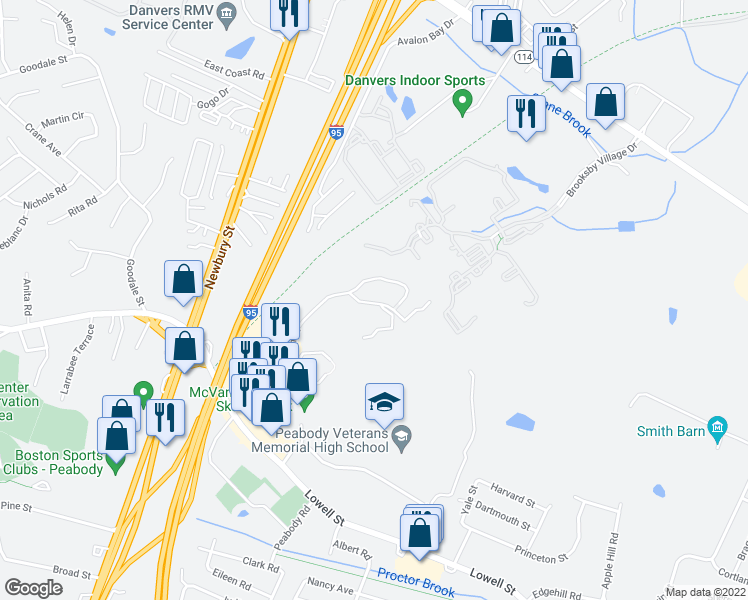 map of restaurants, bars, coffee shops, grocery stores, and more near 12 Ledgewood Way in Peabody