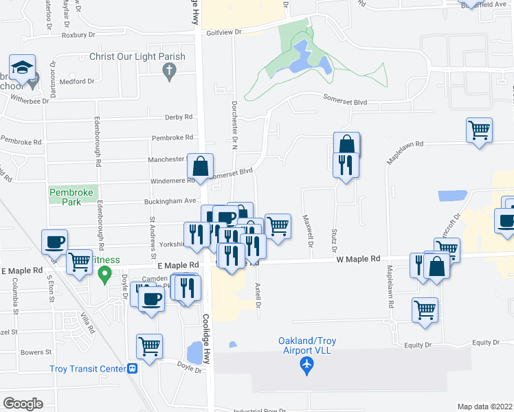 map of restaurants, bars, coffee shops, grocery stores, and more near 1890 Axtell Drive in Troy