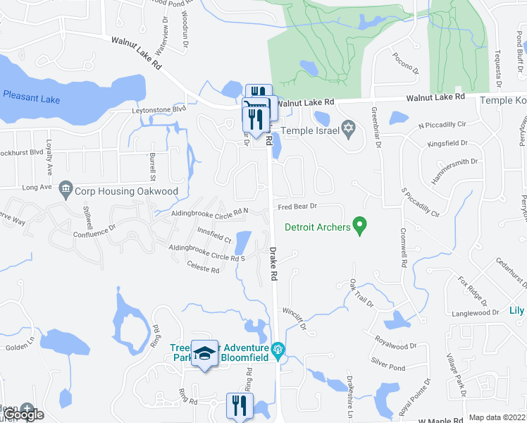 map of restaurants, bars, coffee shops, grocery stores, and more near 6350 Aldingbrooke Circle Road North in West Bloomfield