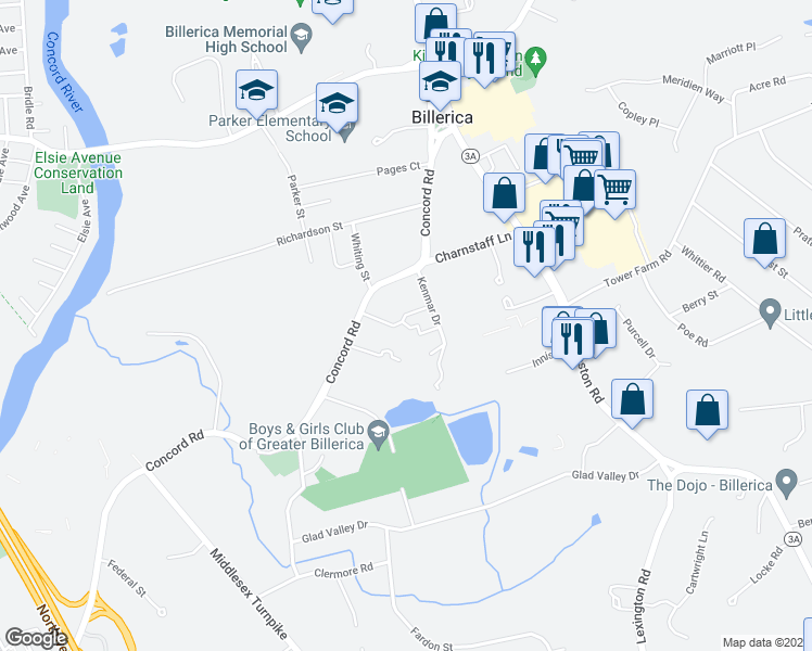 map of restaurants, bars, coffee shops, grocery stores, and more near 5 Kenmar Drive in Billerica