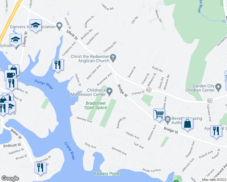 map of restaurants, bars, coffee shops, grocery stores, and more near 8 Bradstreet Avenue in Danvers