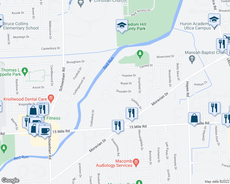 map of restaurants, bars, coffee shops, grocery stores, and more near 14379 Dresden Drive in Sterling Heights