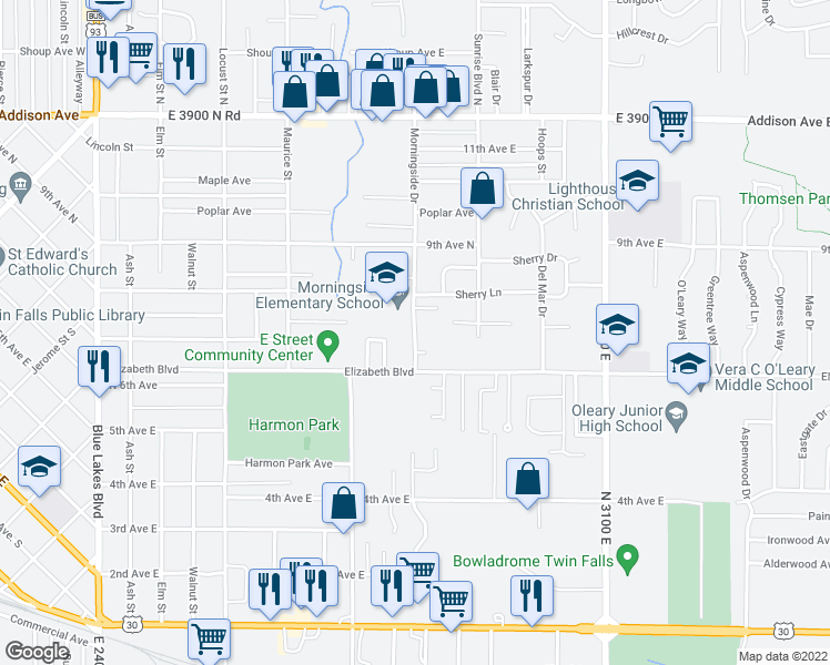 map of restaurants, bars, coffee shops, grocery stores, and more near 629 Morningside Drive in Twin Falls