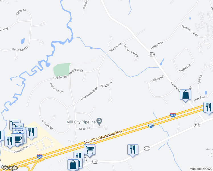 map of restaurants, bars, coffee shops, grocery stores, and more near Thistle Lane in Westford