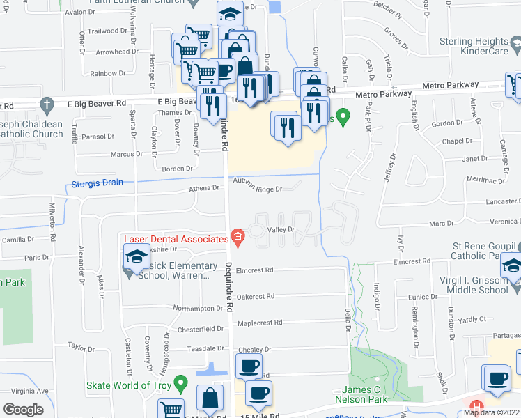map of restaurants, bars, coffee shops, grocery stores, and more near 2131 Ashley Court in Sterling Heights