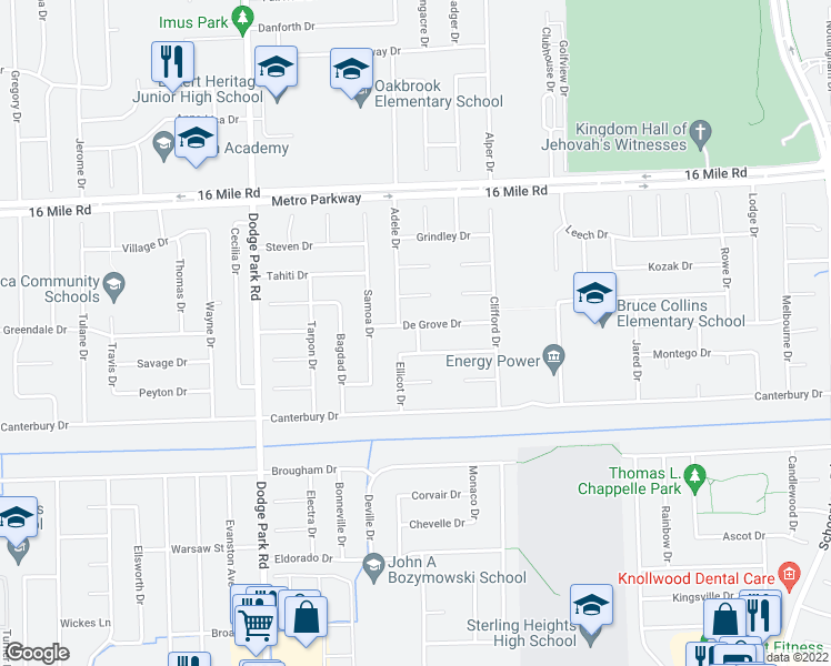 map of restaurants, bars, coffee shops, grocery stores, and more near 36498 Darcy Drive in Sterling Heights