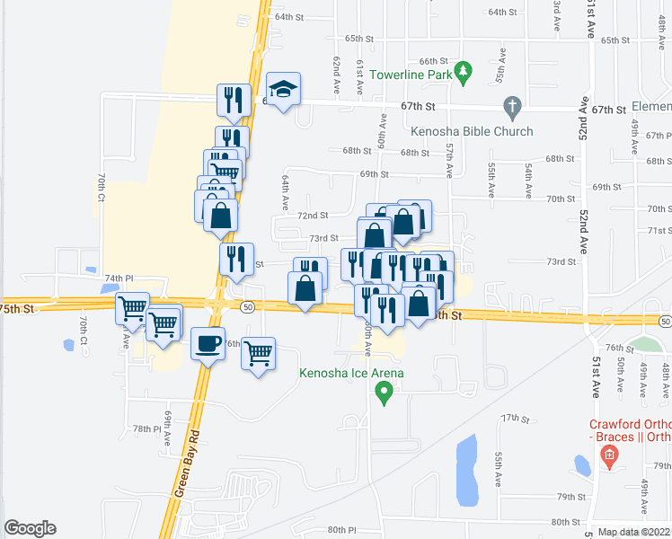 map of restaurants, bars, coffee shops, grocery stores, and more near 6207 73rd Street in Kenosha
