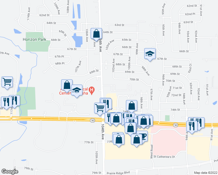 map of restaurants, bars, coffee shops, grocery stores, and more near 7101 104th Avenue in Kenosha