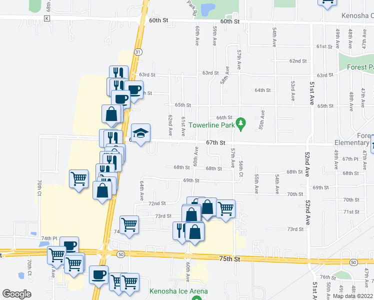 map of restaurants, bars, coffee shops, grocery stores, and more near 6099 67th Street in Kenosha