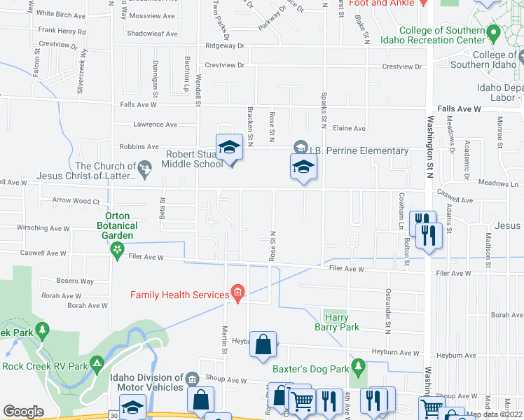 map of restaurants, bars, coffee shops, grocery stores, and more near 653 Rose Street North in Twin Falls