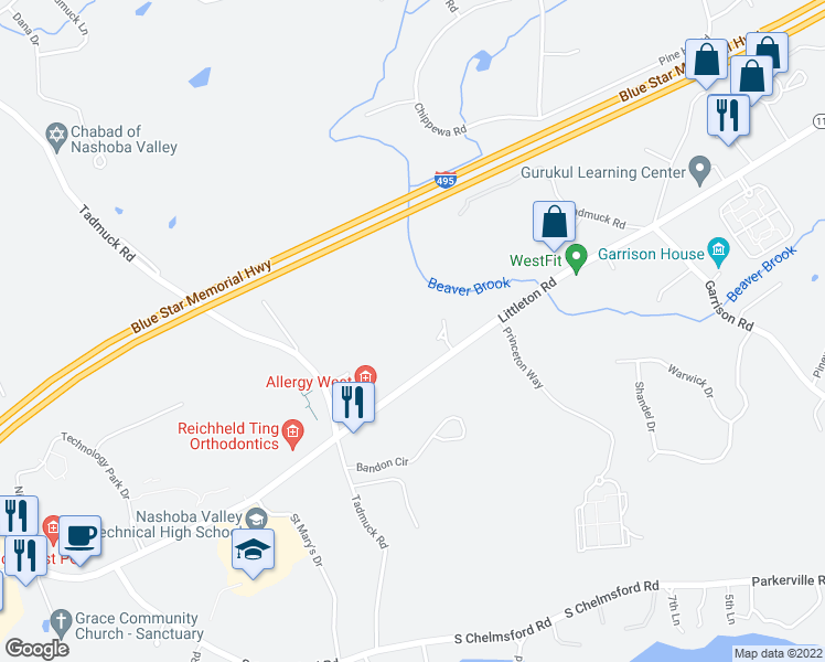 map of restaurants, bars, coffee shops, grocery stores, and more near 19 Littleton Road in Westford