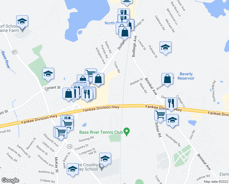 map of restaurants, bars, coffee shops, grocery stores, and more near 0 Beverly Commons Drive in Beverly