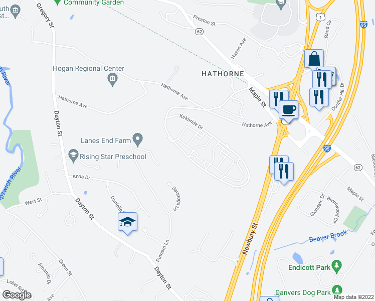 map of restaurants, bars, coffee shops, grocery stores, and more near 4000 Kirkbride Drive in Danvers