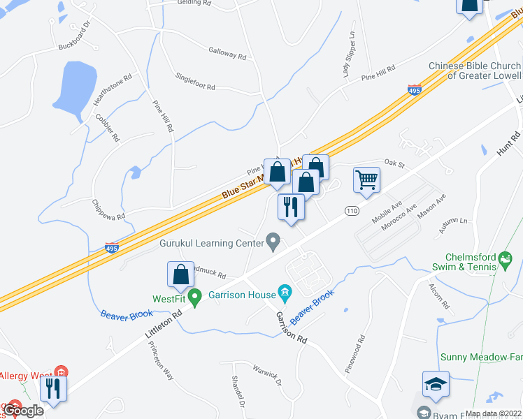 map of restaurants, bars, coffee shops, grocery stores, and more near 26 Chamberlain Road in Chelmsford