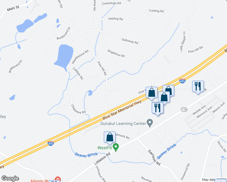 map of restaurants, bars, coffee shops, grocery stores, and more near 7 Deana Lane in Chelmsford