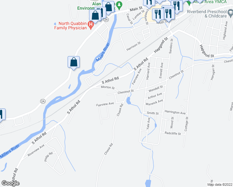 map of restaurants, bars, coffee shops, grocery stores, and more near 7 Chestnut Street in Athol