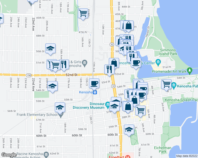 map of restaurants, bars, coffee shops, grocery stores, and more near 5215 11th Avenue in Kenosha