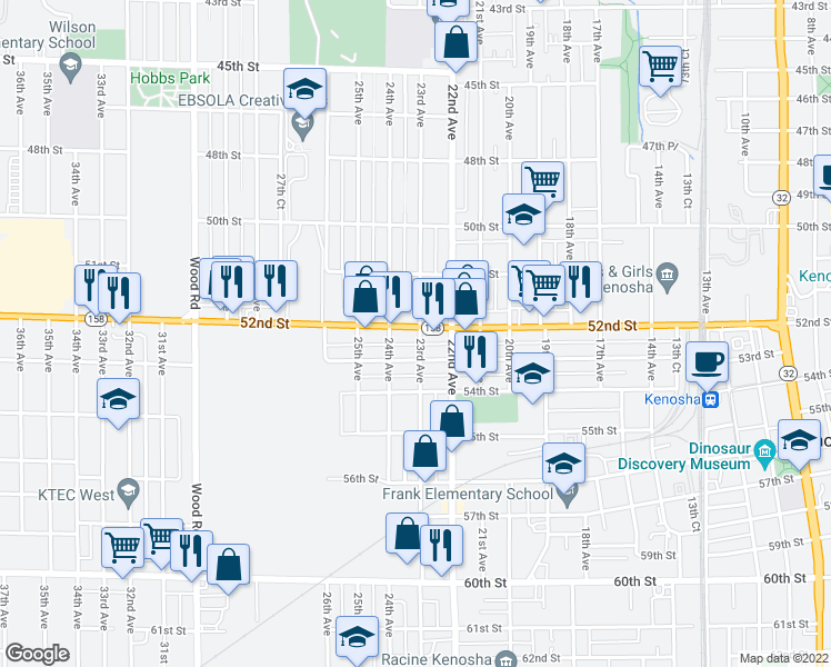 map of restaurants, bars, coffee shops, grocery stores, and more near 2301 52nd Street in Kenosha