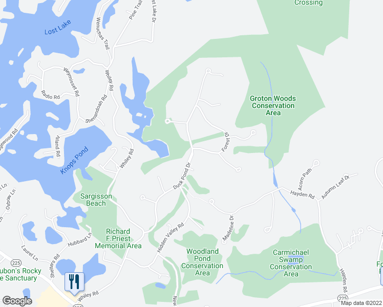 map of restaurants, bars, coffee shops, grocery stores, and more near 70 Duck Pond Dr in Groton