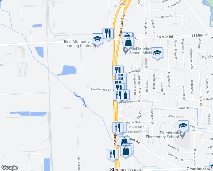 map of restaurants, bars, coffee shops, grocery stores, and more near 40333 Van Dyke Avenue in Sterling Heights