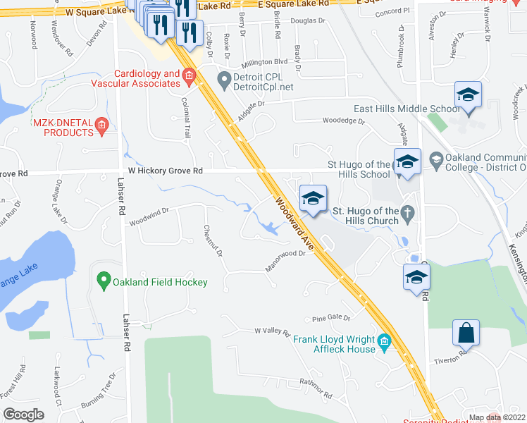 map of restaurants, bars, coffee shops, grocery stores, and more near 559 Barrington Park in Bloomfield Hills