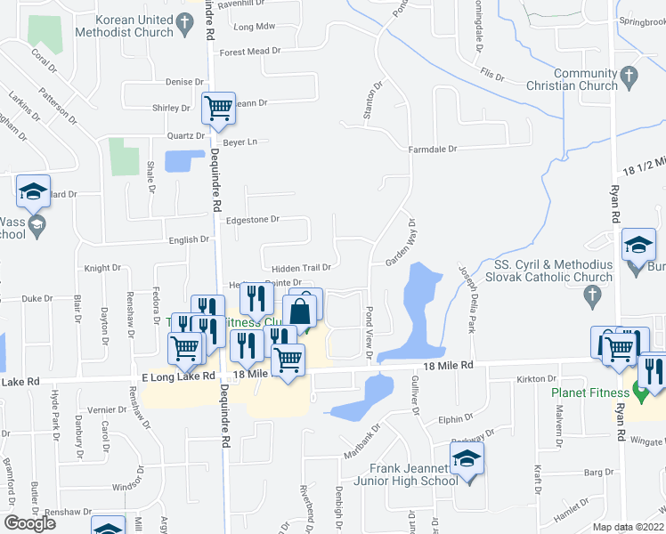 map of restaurants, bars, coffee shops, grocery stores, and more near Hidden Trail Drive in Sterling Heights