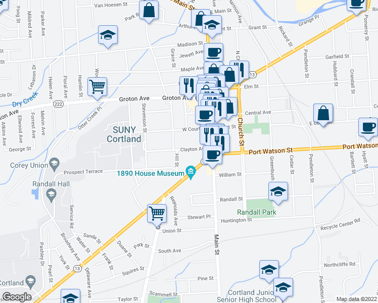 map of restaurants, bars, coffee shops, grocery stores, and more near 25 Clayton Avenue in Cortland