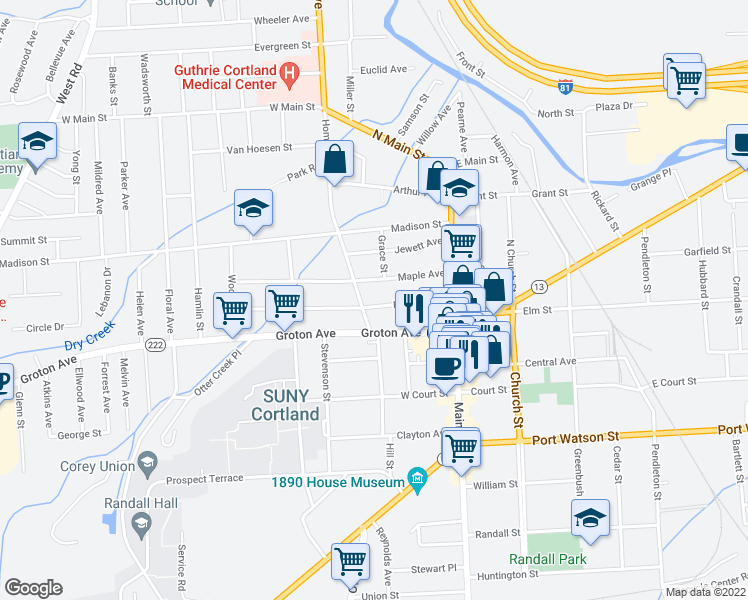 map of restaurants, bars, coffee shops, grocery stores, and more near 40 Lincoln Avenue in Cortland