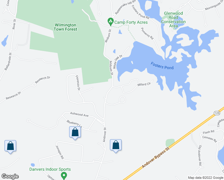 map of restaurants, bars, coffee shops, grocery stores, and more near 4 Hensey Way in Wilmington