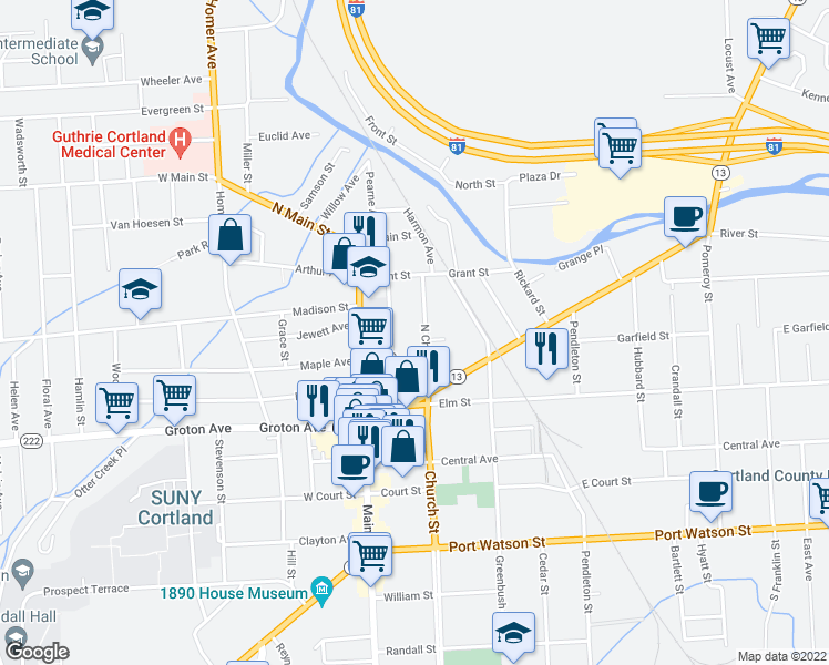 map of restaurants, bars, coffee shops, grocery stores, and more near 22 North Church Street in Cortland