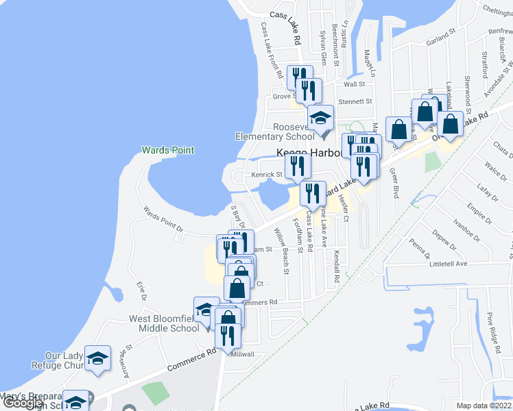 map of restaurants, bars, coffee shops, grocery stores, and more near Willow Beach Street in Keego Harbor