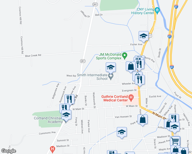 map of restaurants, bars, coffee shops, grocery stores, and more near 5 Leon Avenue in Cortland