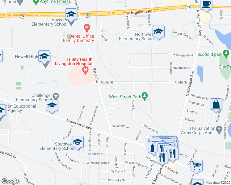 map of restaurants, bars, coffee shops, grocery stores, and more near Greenwich Street in Howell