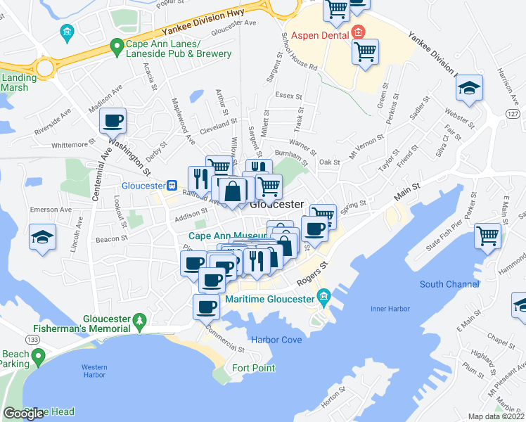 map of restaurants, bars, coffee shops, grocery stores, and more near 54 Pleasant Street in Gloucester