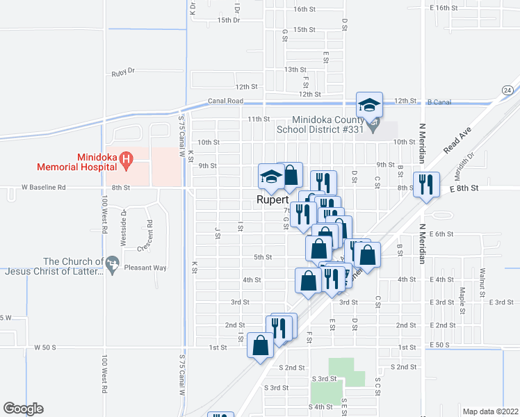 map of restaurants, bars, coffee shops, grocery stores, and more near 600-650 H Street in Rupert