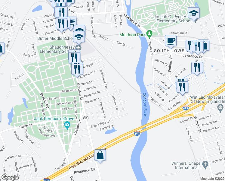 map of restaurants, bars, coffee shops, grocery stores, and more near 130 Bowden Street in Lowell