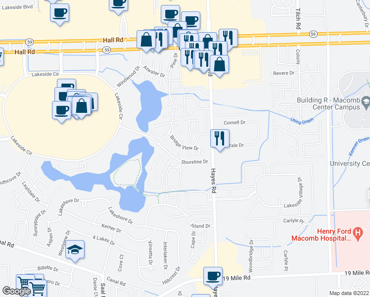 map of restaurants, bars, coffee shops, grocery stores, and more near in Bloomfield Hills