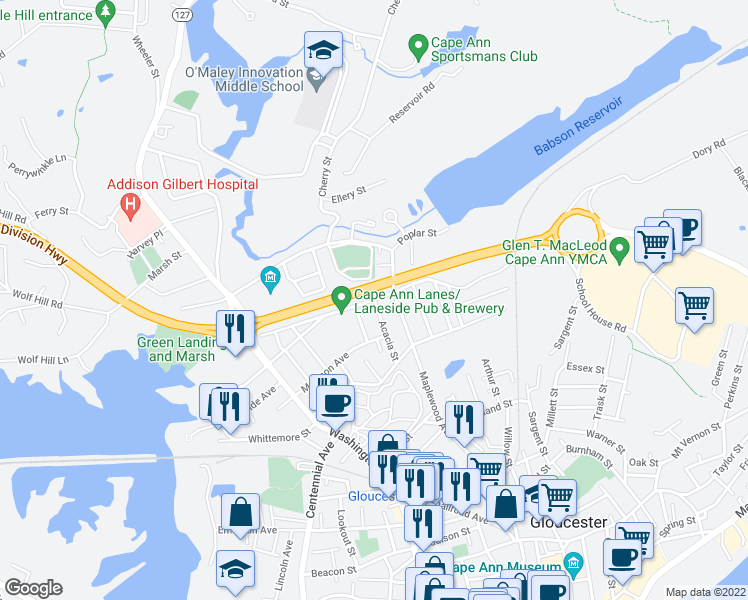 map of restaurants, bars, coffee shops, grocery stores, and more near Gloucester Avenue in Gloucester