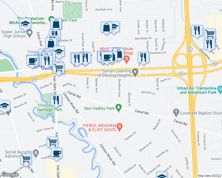 map of restaurants, bars, coffee shops, grocery stores, and more near Duffield Avenue in Sterling Heights